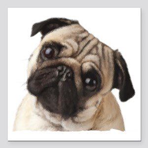 """Pug Oil Painting Face Square Car Magnet 3"""" x 3"""""""