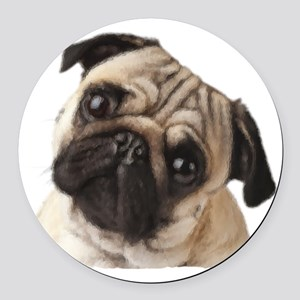 Pug Oil Painting Face Round Car Magnet
