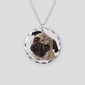 Pug Oil Painting Face Necklace Circle Charm