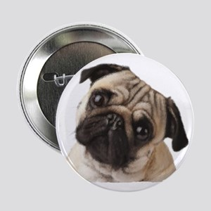 """Pug Oil Painting Face 2.25"""" Button"""