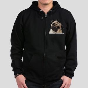 Pug Oil Painting Face Zip Hoodie (dark)