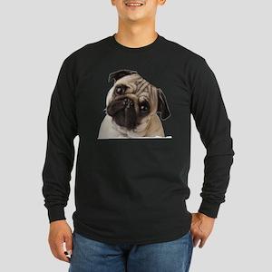 Pug Oil Painting Face Long Sleeve Dark T-Shirt