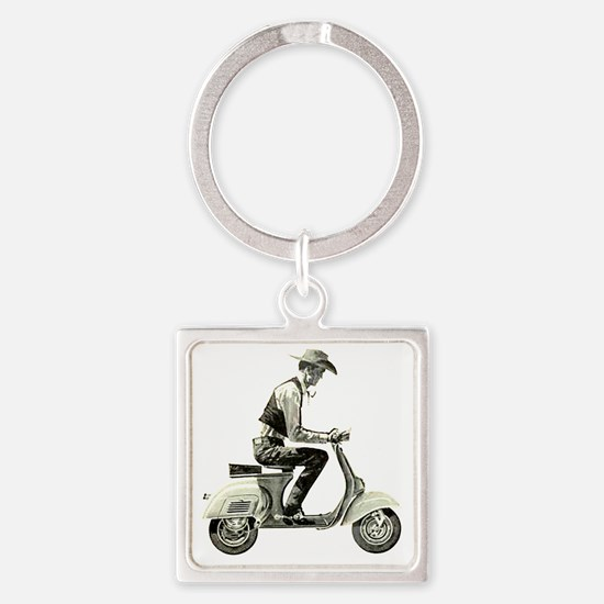 Scooter Cowboy Square Keychain