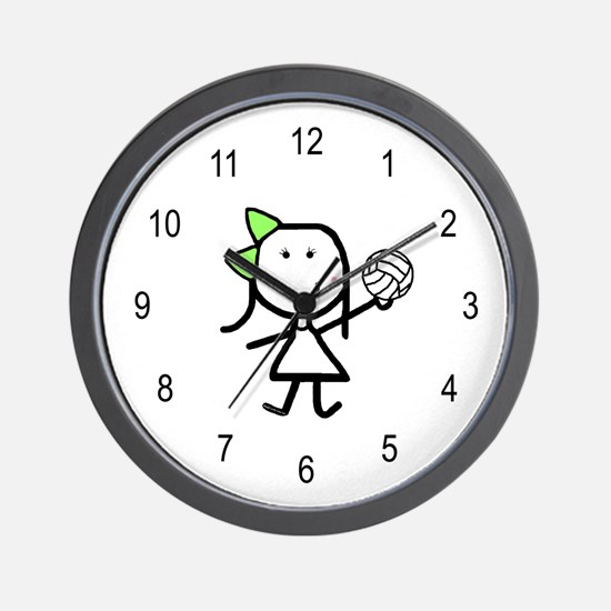Girl & Volleyball Wall Clock