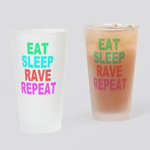 Eat Sleep Rave Repeat colorful Shir Drinking Glass