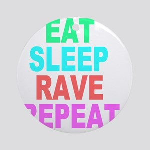 Eat Sleep Rave Repeat colorful Shir Round Ornament