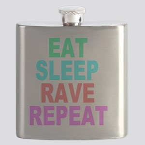Eat Sleep Rave Repeat colorful Shirt Flask