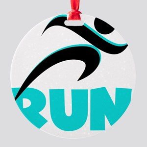 RUN Aqua Round Ornament