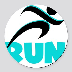 RUN Aqua Round Car Magnet