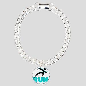 RUN Aqua Charm Bracelet, One Charm