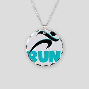 RUN Aqua Necklace Circle Charm