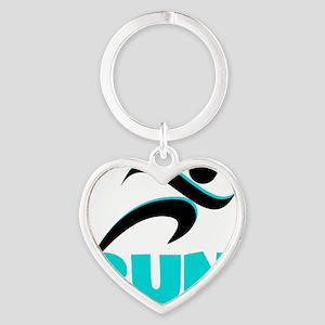 RUN Aqua Heart Keychain
