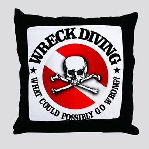 Wreck Diving (Skull) Throw Pillow