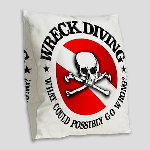 Wreck Diving (Skull) Burlap Throw Pillow
