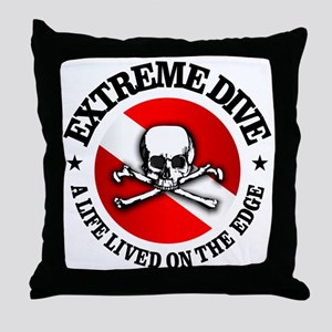 Extreme Dive (Skull) Throw Pillow