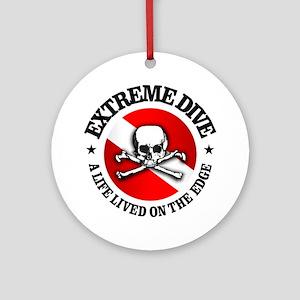 Extreme Dive (Skull) Round Ornament