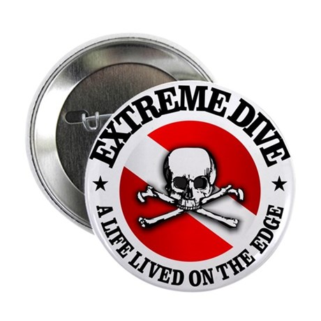 """Extreme Dive (Skull) 2.25"""" Button"""