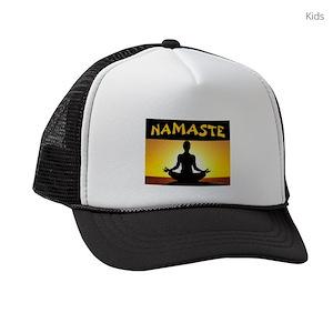 a671d39af2ee9 Yoga Namaste Kids Trucker Hats - CafePress