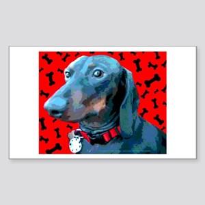 Red Bone Dachshund Rectangle Sticker