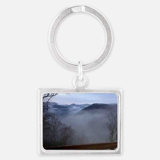 mountains, smokies, foggy mount Landscape Keychain