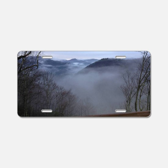 mountains, smokies, foggy m Aluminum License Plate