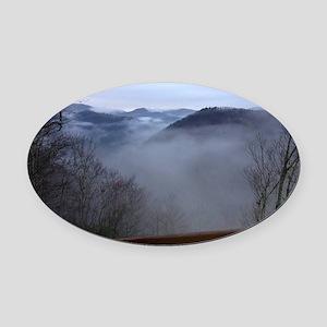 mountains, smokies, foggy mountain Oval Car Magnet