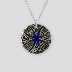 Celtic Knot Decorative Green Necklace Circle Charm