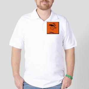 Dog w/Cape Cartoon Sketch Golf Shirt