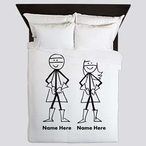 Super Stick Figure Couple Queen Duvet