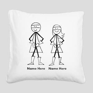 Super Stick Figure Couple Square Canvas Pillow
