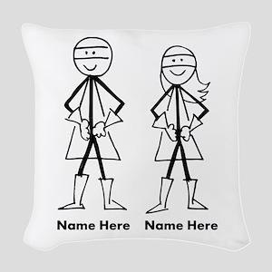 Super Stick Figure Couple Woven Throw Pillow