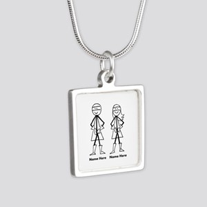 Super Stick Figure Couple Silver Square Necklace