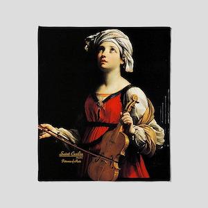 Saint Cecilia Patroness of Music Throw Blanket