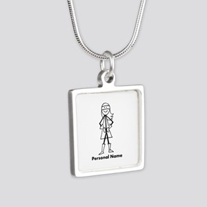 Personalized Super Girl Silver Square Necklace