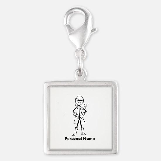 Personalized Super Girl Silver Square Charm