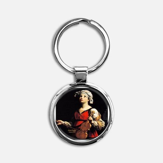 Saint Cecilia Patroness of Music Round Keychain
