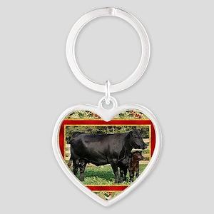 Black Angus Cow  Calf Christmas Car Heart Keychain