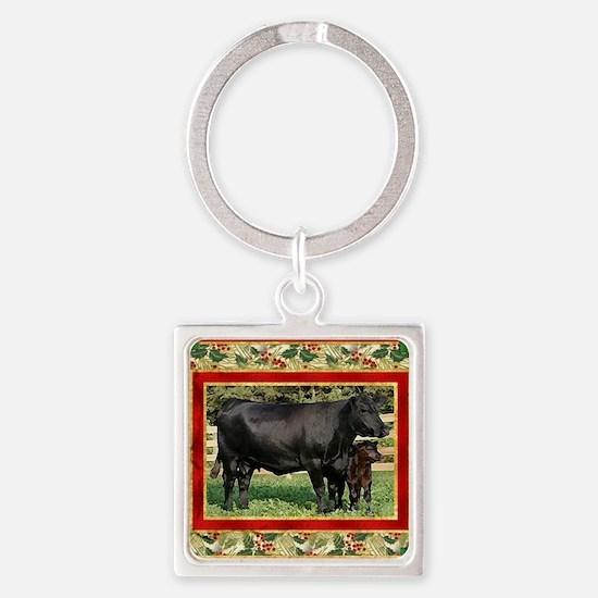 Black Angus Cow  Calf Christmas Ca Square Keychain