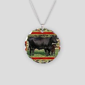 Black Angus Cow  Calf Christ Necklace Circle Charm