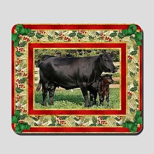 Black Angus Cow  Calf Christmas Card Mousepad