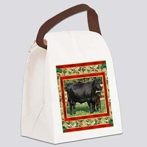 Black Angus Cow  Calf Christmas C Canvas Lunch Bag