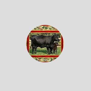 Black Angus Cow  Calf Christmas Card Mini Button
