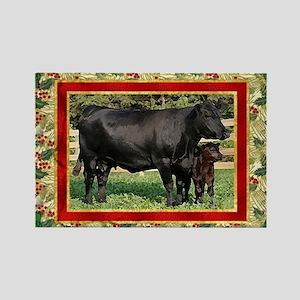 Black Angus Cow  Calf Christmas C Rectangle Magnet