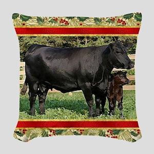 Black Angus Cow  Calf Christma Woven Throw Pillow