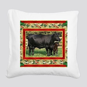 Black Angus Cow  Calf Christm Square Canvas Pillow