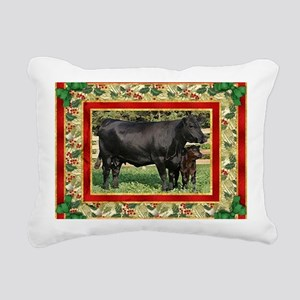 Black Angus Cow  Calf Ch Rectangular Canvas Pillow