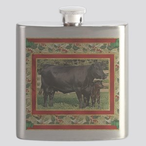 Black Angus Cow  Calf Christmas Card Flask