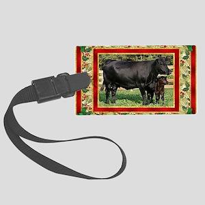 Black Angus Cow  Calf Christmas  Large Luggage Tag
