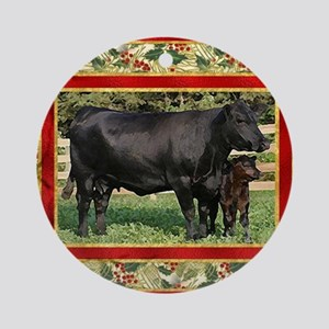 Black Angus Cow  Calf Christmas Car Round Ornament