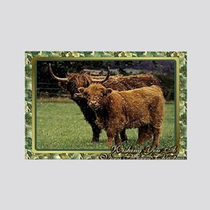 Highland Cow And Calf Christmas C Rectangle Magnet